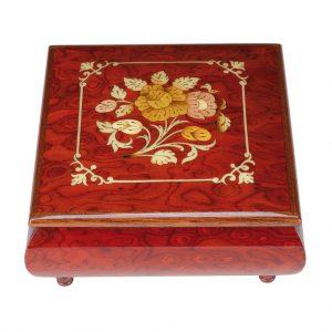 scatola musicale rossa intarsio classico