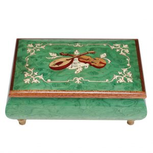 classic inlaid music box with violion