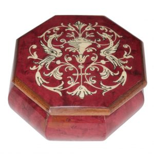 scatola intarsiata ottagonale rossa