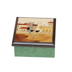 scatola quadrata intarsio sorrento soggetto gatti
