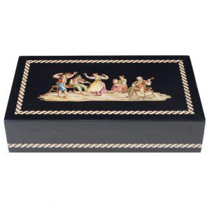 elegante scatola intarsiata nera con soggetti della tradizione tantatella